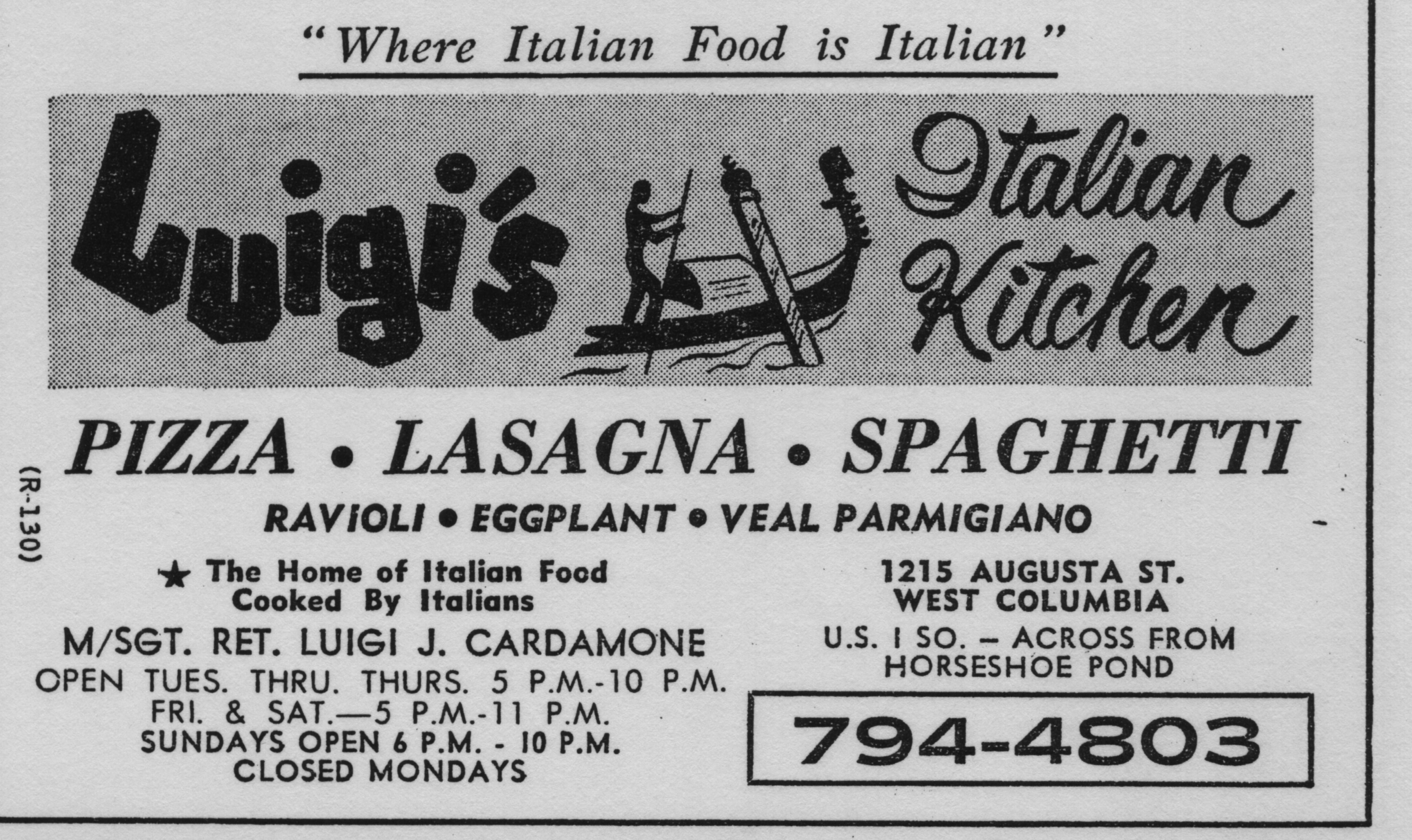 Luigi's Italian Kitchen, 1215 Augusta Street: mid-1980s at