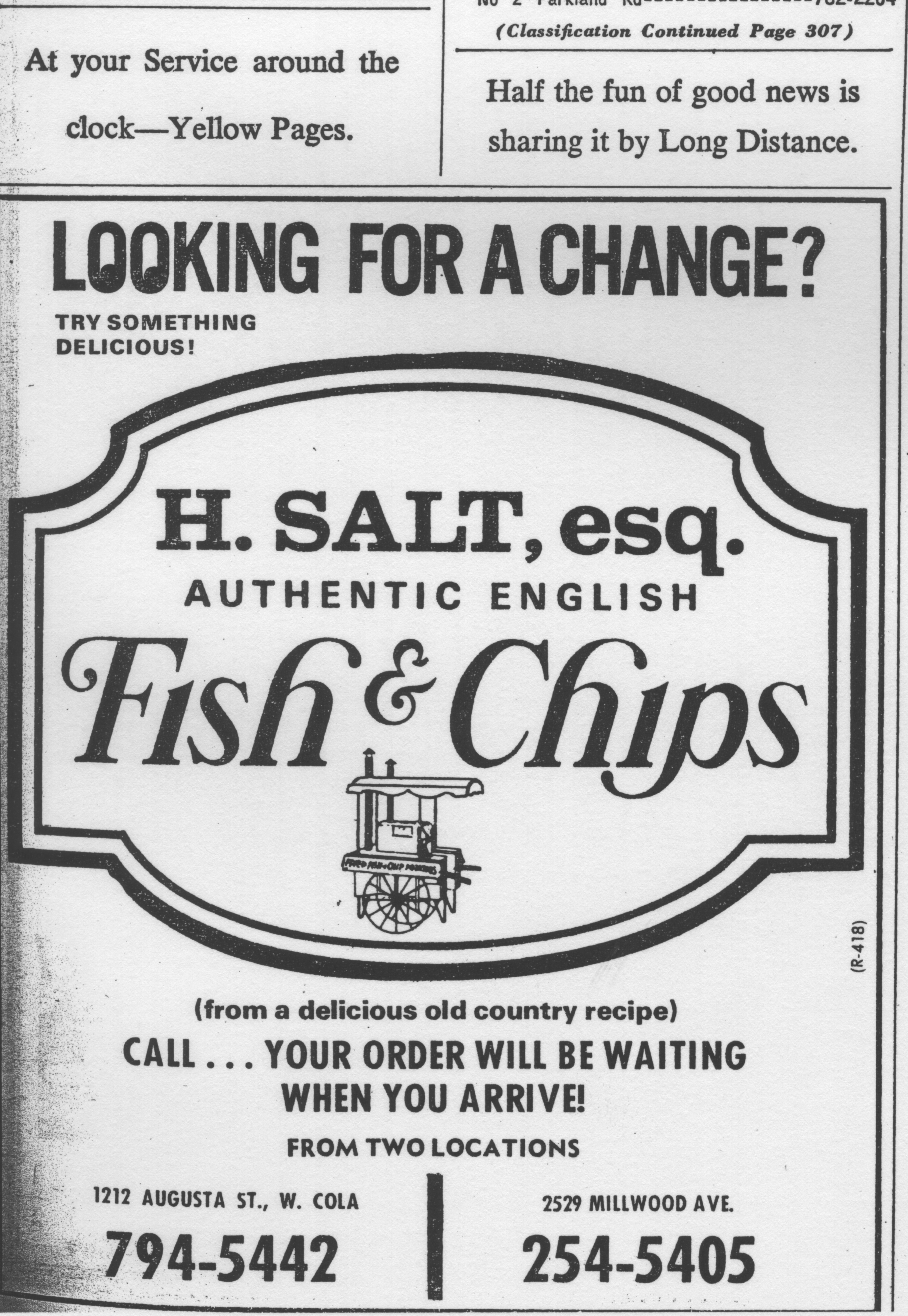H salt esq authentic english fish chips 1212 augusta for H salt fish and chips menu